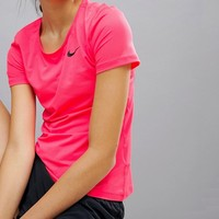 Nike Pro Training Short Sleeve Tee In Pink at asos.com