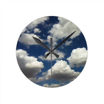 Beautiful Blue Sky with Puffy Clouds Wall Clock