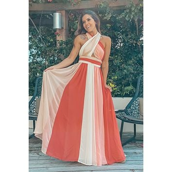 Coral Color Block Halter Neck Maxi Dress