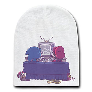 'Epic Battle' Funny Video Game Characters Parody - White Adult Beanie Skull Cap Hat