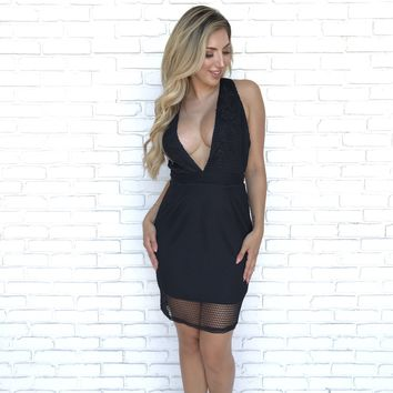 Power of the Night Black Mesh Dress