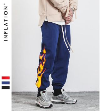 New Autumn Mens Sweatpants Side Stripe Jogger Pants Printing Elastic Waist Vintage Casual Mens Pants