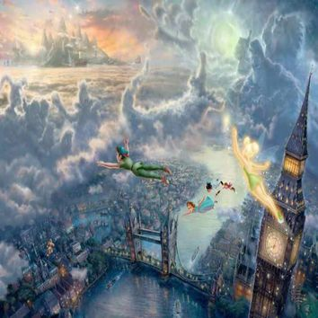 Thomas kinkade Prints on Canvas Tinker Bell And Peter Pan Fly To Neverland