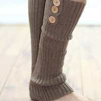 Taupe Three Button Leg Warmers