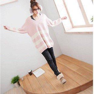 Elegant Strip Pattern V-neck Design Loose Warm Top Sweater Pink-Wholesale Women Fashion From Icanfashion.com
