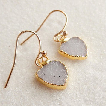 White Arrowhead Druzy Earrings 24K Gold Heart Drusy Crystal Quartz Natural Raw Drops - Mother's Day Free Shipping Jewelry
