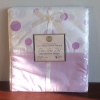 Vintage Bed Sheet Purple Polka Dots Combed Cotton Percale Duo Tone Dot Twin Full
