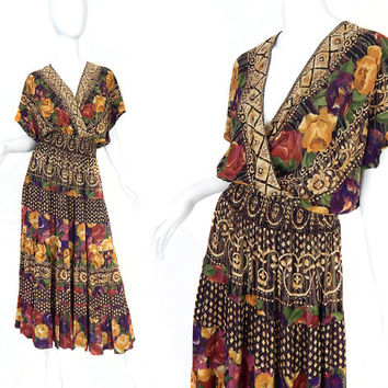 Vtg 80s 90s Boho Chic Womens Maxi Dress - Size 8 - Floral Print Patterned Carole Little Long Flowy Gypsy Dress - Rich Brown Red Yellow Roses