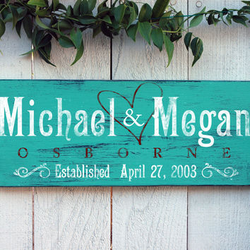 Copy of Rustic Wedding Established Sign, Last Name Sign, in Aqua Green Distressed Finish