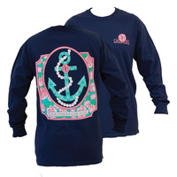 SALE Southern Couture Preppy Pearl Anchor Floral Comfort Colors Navy Girlie Long Sleeve Bright T Shirt