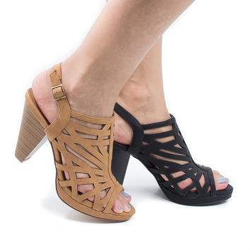 Sunlus Tan By City Classified, Geometric Cut Out Sling Back Chunky Stacked Heeled Sandals