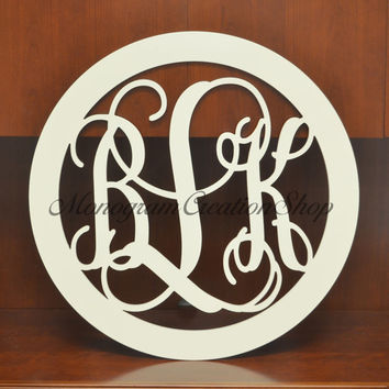 "Large 30"" Inch Border Wooden Monogrammed Wall Hanging Painted Initials Prop Graduation Gift Wedding Nursery Bedroom Decor"