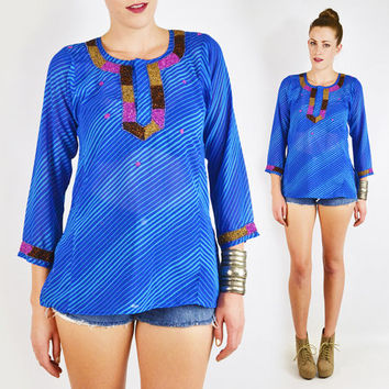 vintage 90s blue INDIA BEADED tunic top / blue striped tunic / sheer striped tunic / sheer tunic / india tunic / boho hippie festival / s