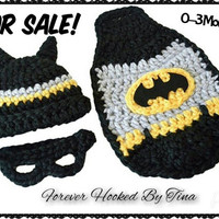 Crochet Knit 0-3 Mos Baby Batman- Photo Prop- Hat and Cape-Baby Boy Superhero Baby Boy Batman costume Hat Cape Set Crochet