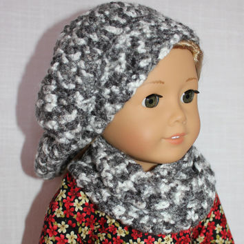 grey and white mix beret style crochet slouch hat with infinity scarf,  18 inch doll clothes, American girl, Maplelea