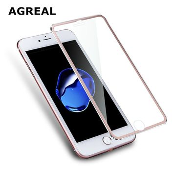 AGREAL 3D Aluminum alloy Tempered Glass Case Coque for iphone 6 6s / 7 Plus Full Film Fundas For 5 5s se 5C Case Rose RED  Gold