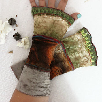 Soil color gloves, Green Velvet gloves, Mittens Brown, Brown velvet glove, Gift gloves, Leaf green gloves, Velvet gloves, Fingerless gloves