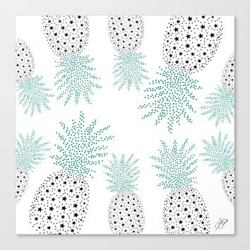 Pineapple Pattern Canvas Print by ES Creative Designs
