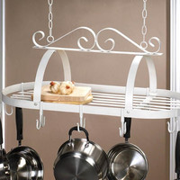 Pot Rack-White Wrought Iron