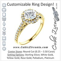 Cubic Zirconia Engagement Ring- The Sunshine (Customizable Round Cut Halo Design with Vintage Cathedral Trellis and Thin Pavé Band)