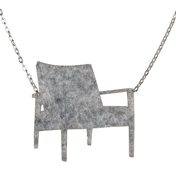 Wool felt mid-century armchair necklace