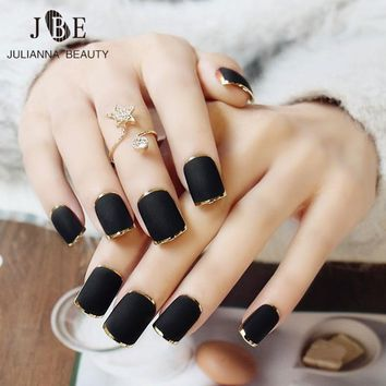 24 Pcs Fashion Round Acrylic Nail False Fake Nail Tips Full Press On Metal Gold Fingernails With Free Glue Metta Black Nail Art