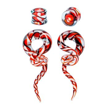 BodyJ4You Glass Gauges Kit Twisted Ear Tapers Plugs Black Red Ribbon 4G-14mm Piercing Jewelry