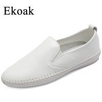 Ekoak Genuine Leather Sneakers Size 35-43  Classic Women Casual Shoes Spring Autumn Women Flats Fashion Shoes Woman