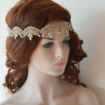 Bridal Headband, Wedding Headband, Rhinestone and Lace Headband, Wedding Headpiece, Wedding Hair Accessory, Bridal Hair Accessories
