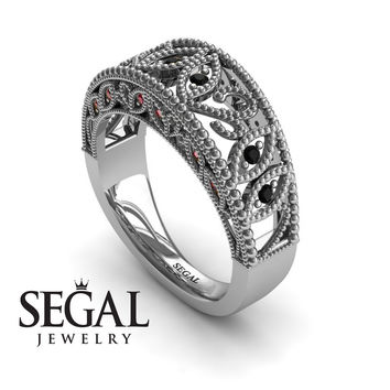 Unique Engagement Ring 14K White Gold Art Deco Antique Ring Edwardian Ring Filigree Ring Black Diamond With Ruby - Avery