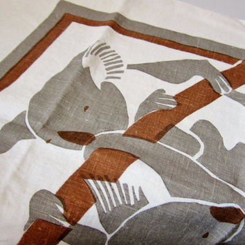 Vintage Linen Tea Towel ABSTRACT KOALAS 1980s