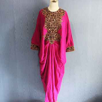 Fancy Pink Kaftan Embroidery Dress Caftan Arabica Maxi Dress with lining Plus Size Kaftan Maternity Dress