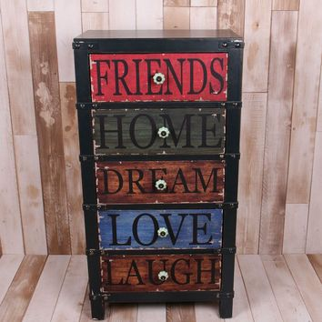 Vintage, distressed, colorful chest of drawers