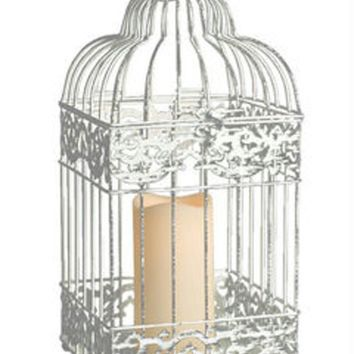 """15"""" White Distressed Metal Birdcage Lantern with Indoor-Outdoor LED Flameless Pillar Candle"""