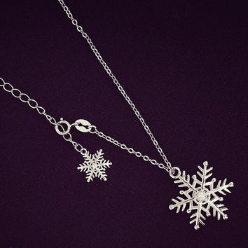 womens simple style snowflake necklace gift 46