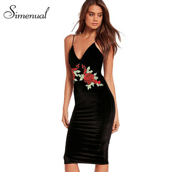 Simenual V neck embroidery flowers summer bodycon dress ladies 2017 sleeveless fitness slim sexy midi party dresses for women