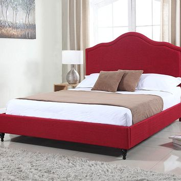 "New Century® Red Linen 51"" Inches Headboard Platform Bed"