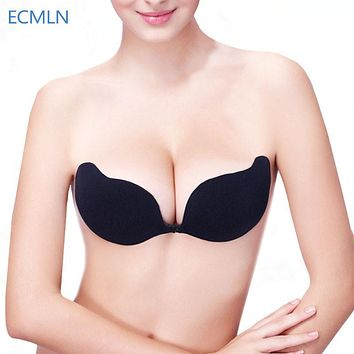 Women Front Closure Silicone Self-Adhesive Half Cup Wire Free Backless Strapless Seamless Push Up  Bra Invisible Intimates #BT