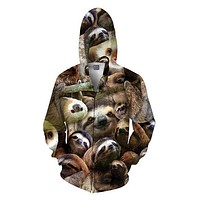Sloth Collage Zip-Up Hoodie