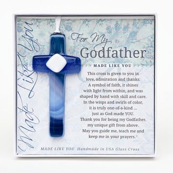 Made Like You Godfather Blue/White Cross with Ribbon - Perfect Grandparents Gift