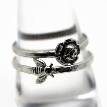 Silver Bee Ring, Silver Rose Ring, Sterling Silver Stacking Rings, Sterling Honeybee Ring