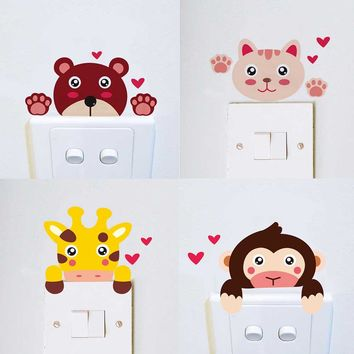DIY cute funny giraffe monkey cat lion bear zebra home decal switch decor wall sticker kid baby bedroom nursery light socket art