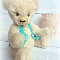 Free shipping worldwide Teddy bear OOAK Shabby chic Gift for her Little bear Interior Plush Toy Artist teddy Sawdust Stuffed Gift for him