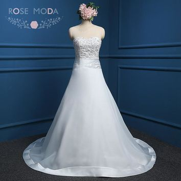 Rose Moda Classic A Line Wedding Dress Pearl Beaded Strapless Plus Size Wedding Dresses Real Photos