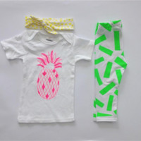 Citrus Hand Screen Printed Leggings, Knot style Headband and Neon Pink Pineapple