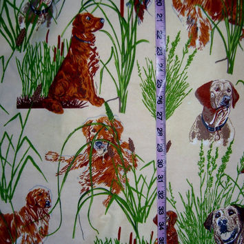 Flannel fabric with dog Labrador Retriever Golden hunting duck reed cotton quilt quilting sewing material to sew for crafts by the yard 1yd