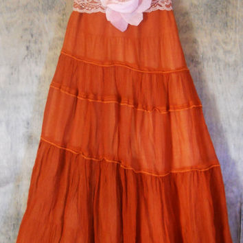 Rust  silk dress lace ruffles cupcake fairytale by vintageopulence