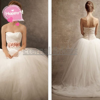 Ball Gown with Asymmetrically Draped Bodice /sweetheart neckline  V waist/Basque Waist Tulle ball gown