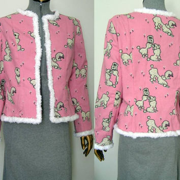 Chanel Jacket Pink Poodles and White Poodle Trim SM