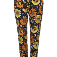Daisy Print Cigarette Trousers - Black